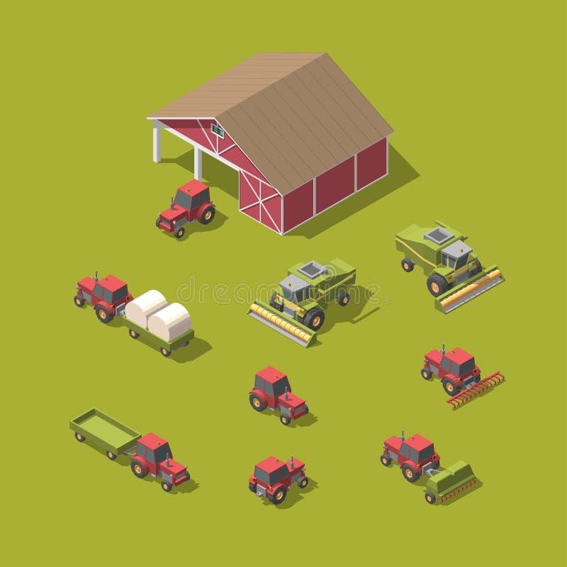 Sistema de la maquinaria agrícola del vector y del ejemplo del vector del taller ilustración del vector