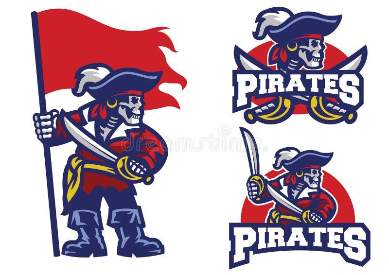 Sistema de la mascota de los piratas del cráneo stock de ilustración