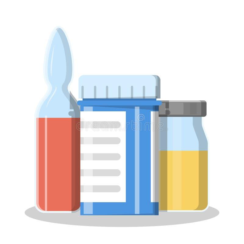 Sistema de la medicación Líquido médico en la botella de cristal ilustración del vector