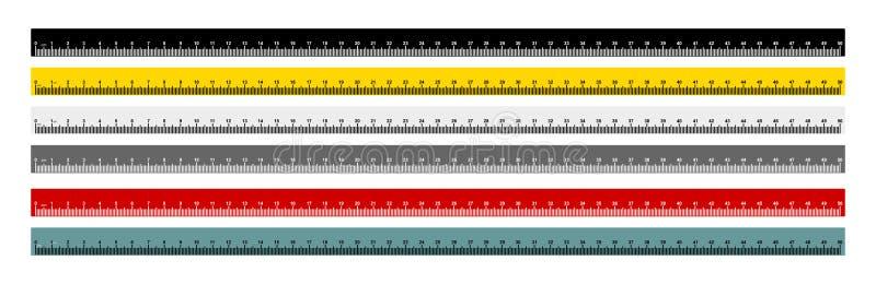 Sistema de la medida métrica de la regla de la cinta de la medida Regla métrica 50 centímetros de regla métrica con azul negro, a ilustración del vector