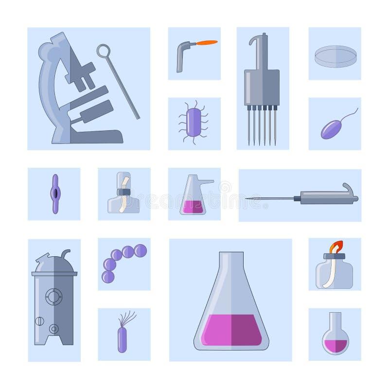 Sistema de la microbiología Equipo y bacterias ilustración del vector