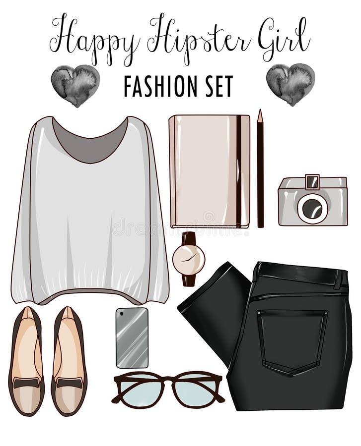 Sistema de la moda de la ropa de la mujer, los accesorios, y los zapatos - forme el clip art ilustración del vector