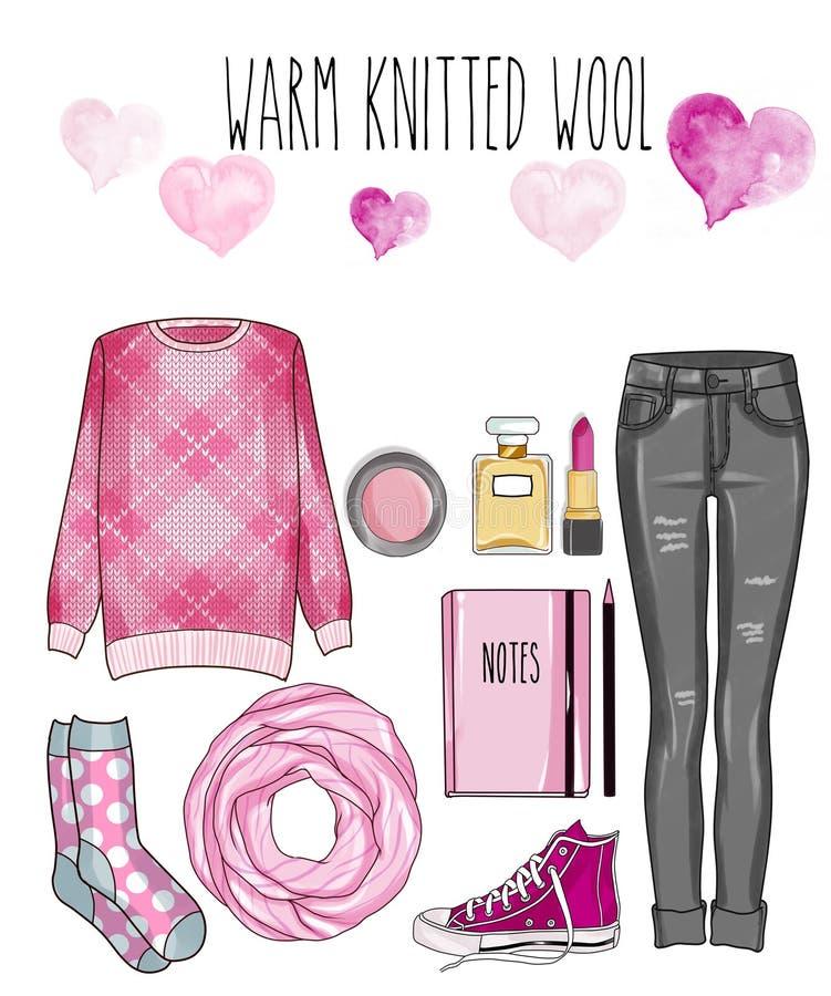 Sistema de la moda de la ropa, de los accesorios, y de los zapatos de la mujer - vaqueros grises del dril de algodón, suéter de p ilustración del vector