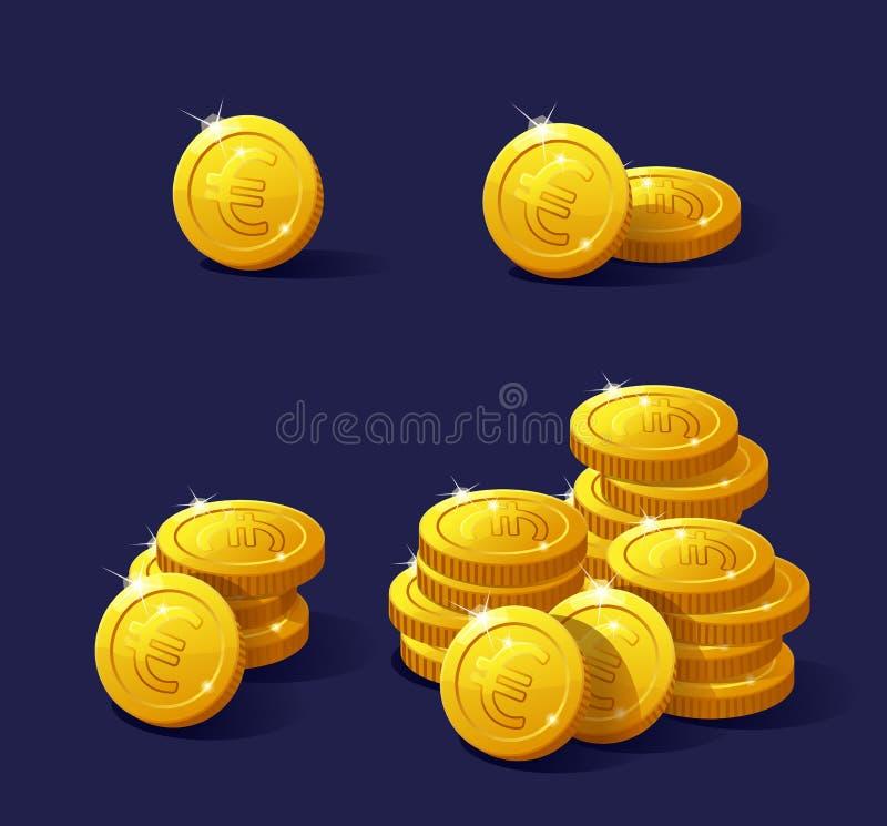Sistema de la moneda de la historieta para el web y los apps Euro de la pila stock de ilustración
