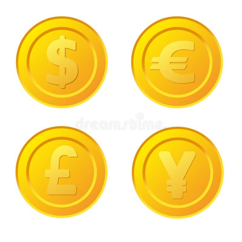 Sistema de la moneda de oro estilizada con símbolos de moneda: dólar, euro, stock de ilustración