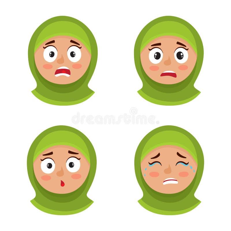 Sistema de la muchacha árabe con la expresión asustada hijab de la cara aislada en blanco libre illustration