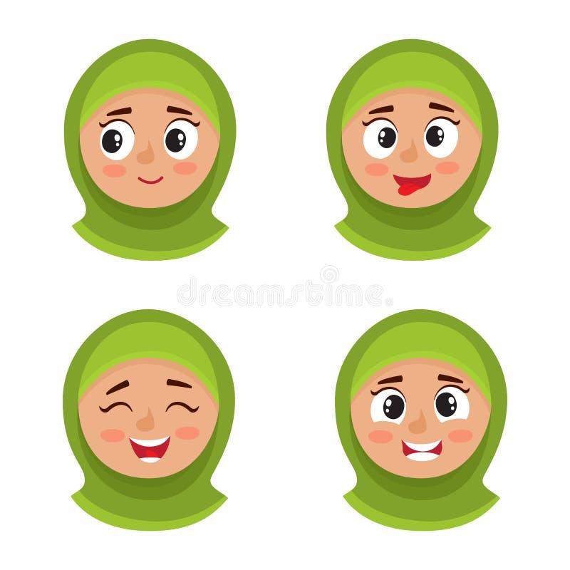Sistema de la muchacha árabe con la expresión feliz de la cara del hijab aislada en blanco ilustración del vector