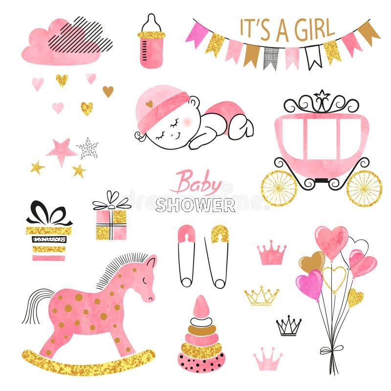 Sistema de la muchacha de la fiesta de bienvenida al bebé Elementos del diseño de la acuarela del vector stock de ilustración