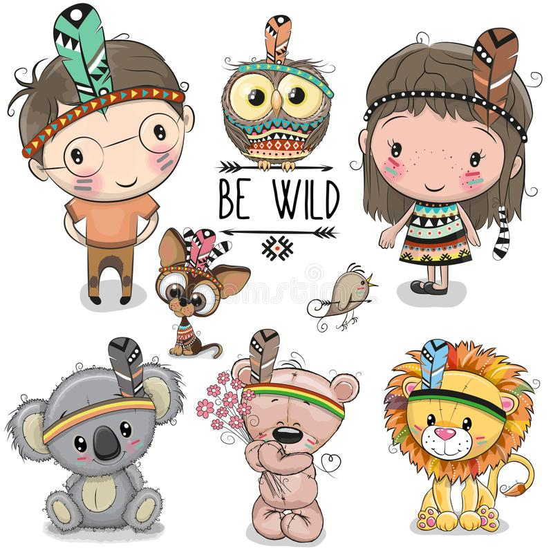 Sistema de la muchacha y muchacho y animales tribales lindos stock de ilustración