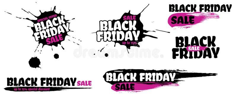 Sistema de la muestra del grunge de la venta de Black Friday La bandera rosada del texto de la oferta especial con gota y la manc ilustración del vector