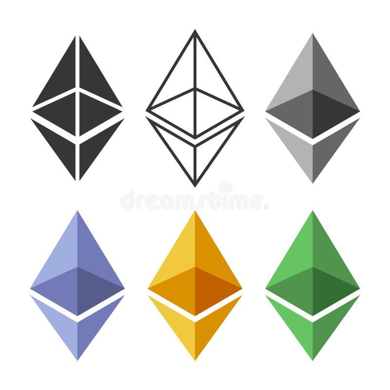 Sistema de la muestra de la moneda de Ethereum Icono Crypto de la moneda Vector stock de ilustración
