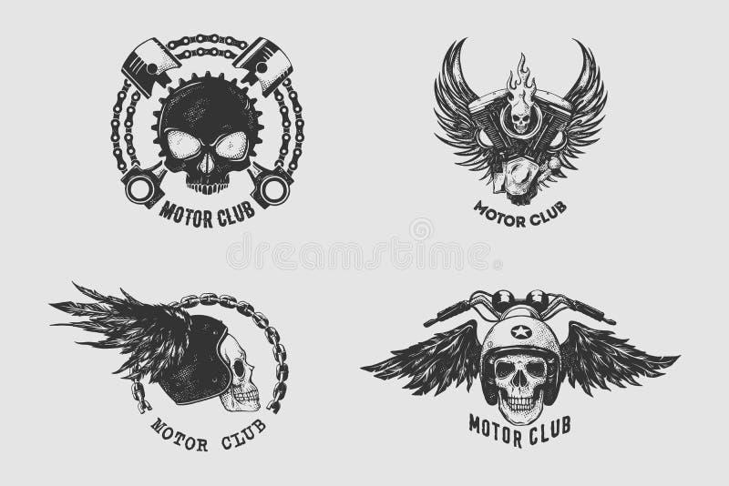 Sistema de la muestra y de etiqueta del club del motor del vintage con la cadena, el cráneo, el casco y el ala Emblema de motoris stock de ilustración