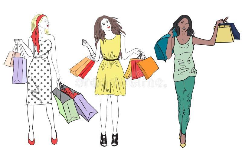 Sistema de la mujer de las muchachas de compras de la moda Grupo de hacer compras feliz de los amigos ilustración del vector
