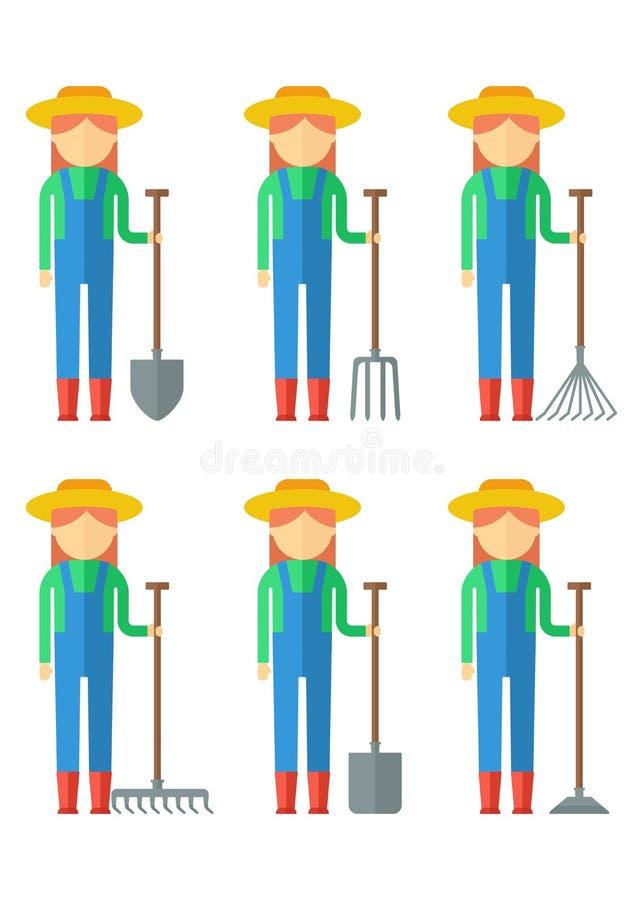 Sistema de la mujer de los granjeros stock de ilustración