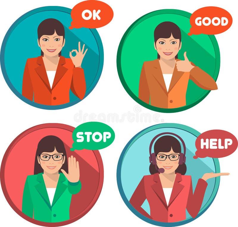 Sistema de la mujer de negocios de demostraciones de los gestos libre illustration