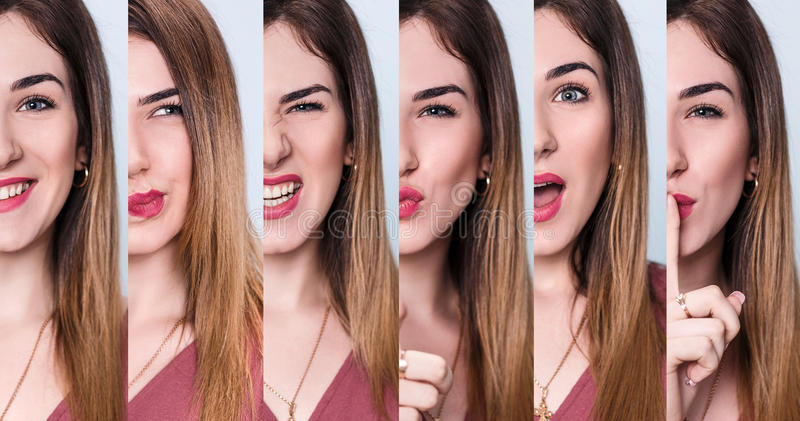 Sistema de la mujer joven con diversas expresiones imagenes de archivo