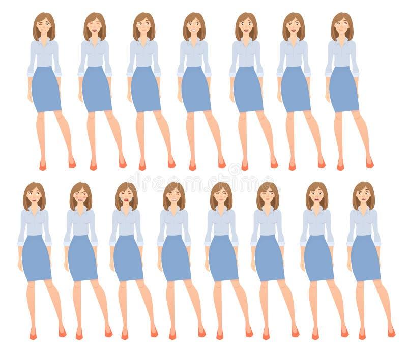 Sistema de la mujer de negocios stock de ilustración