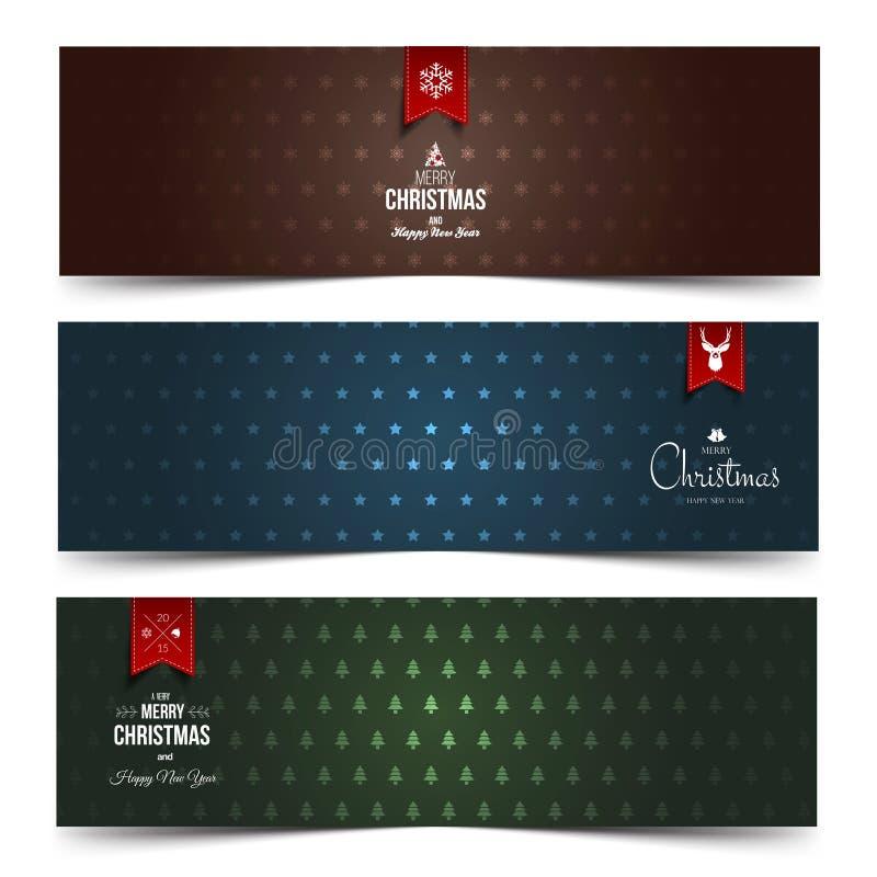 Sistema de la Navidad abstracta colorida, banderas del Año Nuevo ilustración del vector