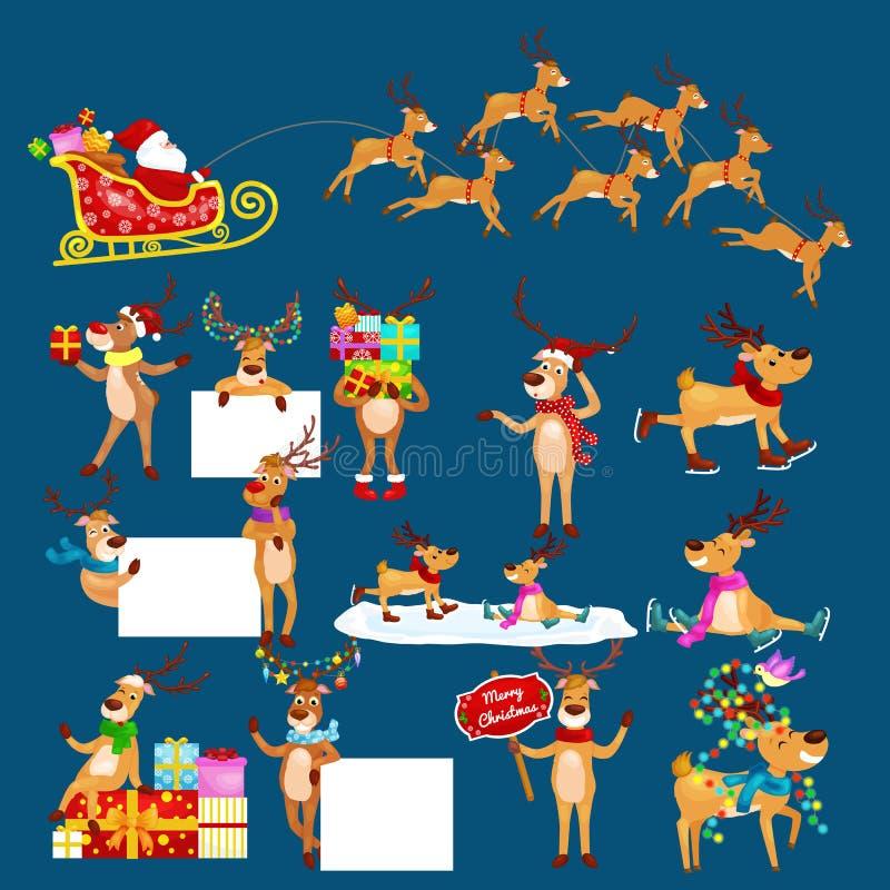 Sistema de la Navidad de ciervos con la bandera aislada, tarjeta de felicitación animal del invierno del día de fiesta feliz de N stock de ilustración