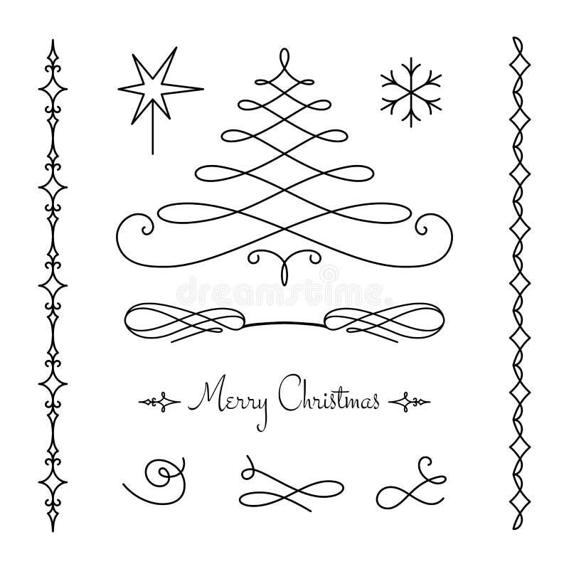 Sistema de la Navidad de elementos decorativos caligráficos libre illustration