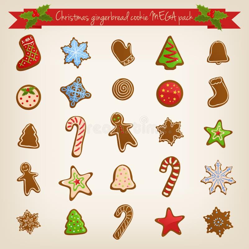 Sistema de la Navidad de galletas del pan de jengibre stock de ilustración