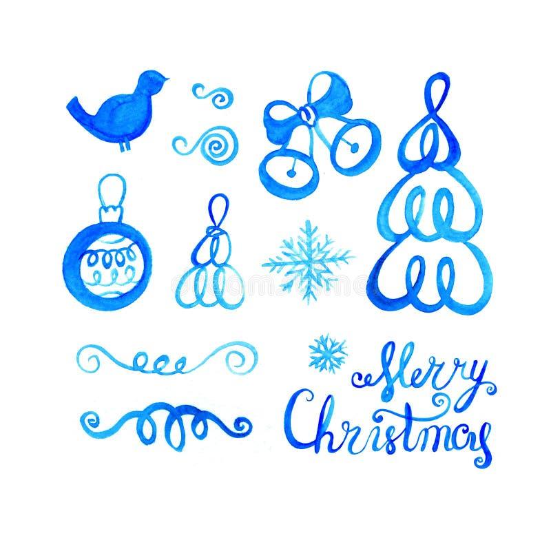 Sistema de la Navidad de la acuarela Colección de los objetos del vintage para el diseño del día de fiesta ilustración del vector
