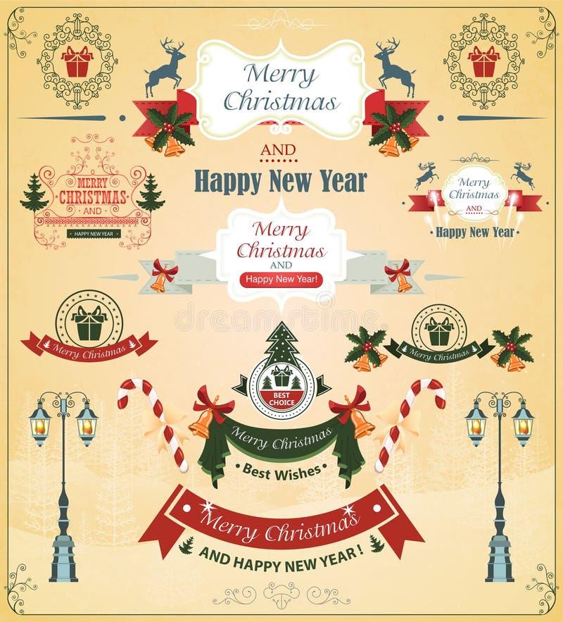 Sistema de la Navidad de los elementos, cintas, para el vector del diseño stock de ilustración