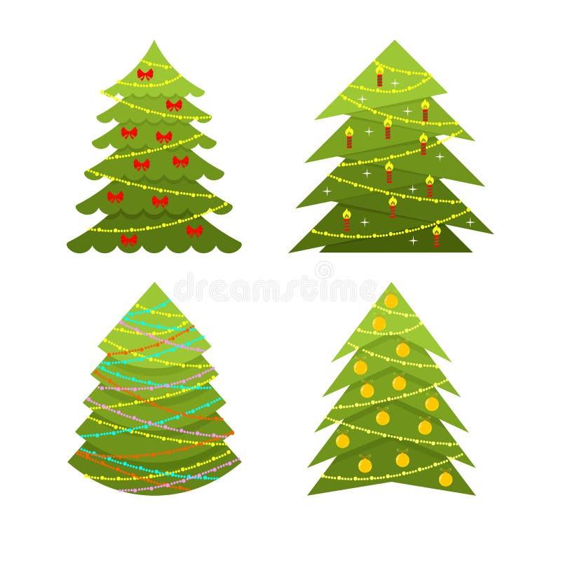 Sistema de la Navidad decorativa y de árboles de navidad con los ornamentos y las guirnaldas de la Navidad stock de ilustración