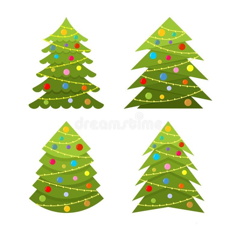 Sistema de la Navidad decorativa y de árboles de navidad con los ornamentos y las guirnaldas de la Navidad libre illustration