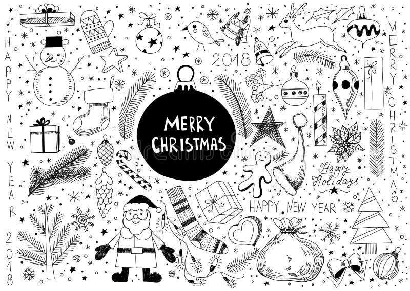 Sistema de la Navidad del garabato stock de ilustración