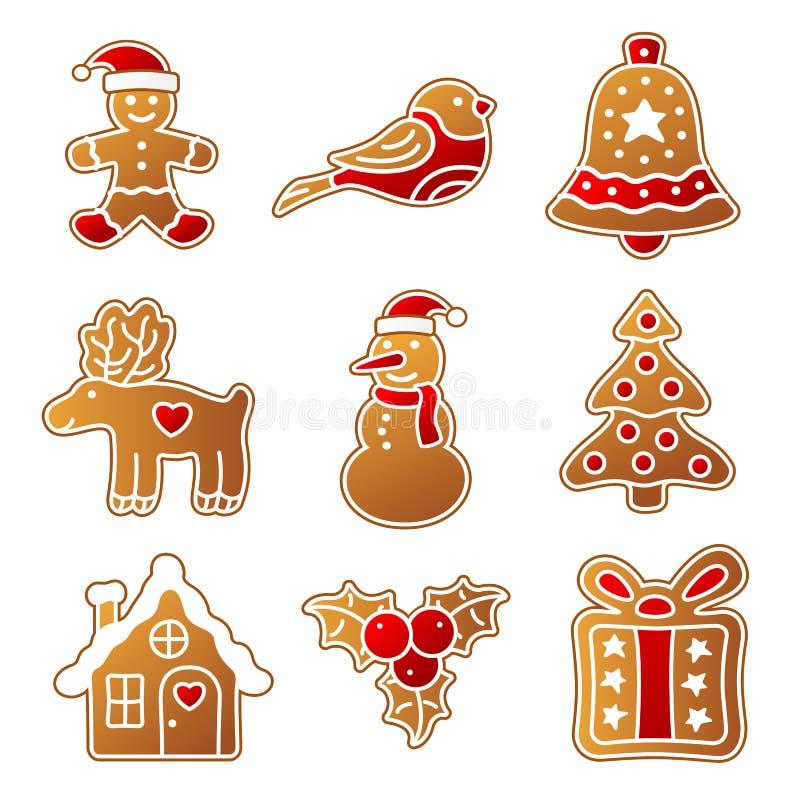 Sistema de la Navidad del pan de jengibre stock de ilustración