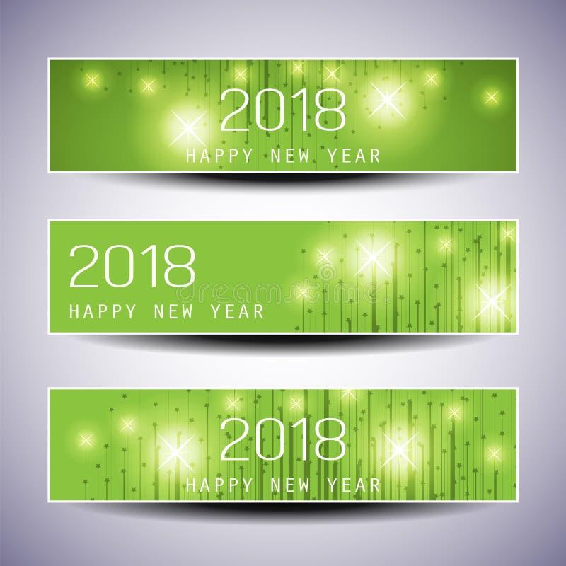 Sistema de la Navidad horizontal, de los jefes o del diseño de las banderas - 2018 del Año Nuevo ilustración del vector
