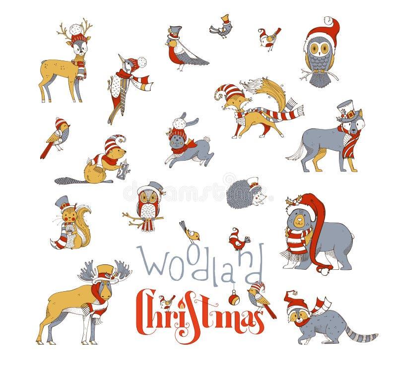 Sistema de la Navidad de los animales del arbolado ilustración del vector