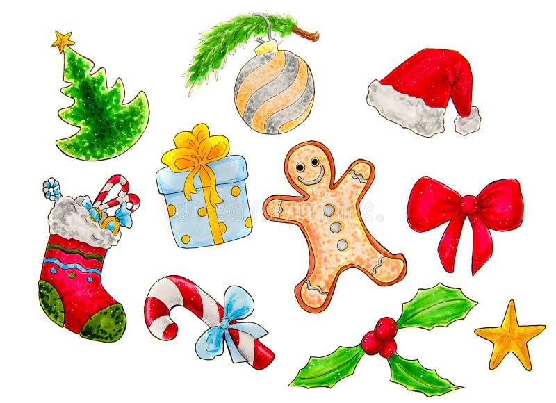 Sistema de la Navidad de símbolos o de elementos de la decoración aislados en el ejemplo blanco ilustración del vector
