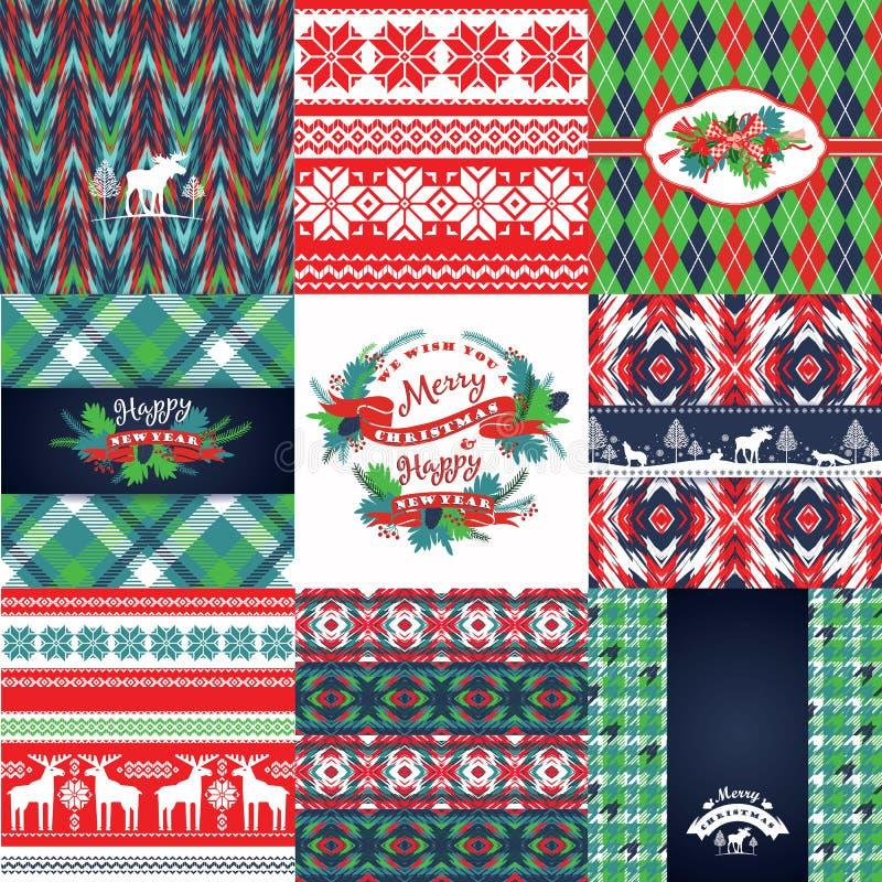 Sistema de la Navidad y del Año Nuevo Fondos hechos punto ilustración del vector