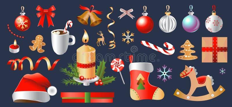 Sistema de la Navidad y de la Feliz Año Nuevo Colección de objetos y de decoraciones del partido Ilustración aislada del vector stock de ilustración