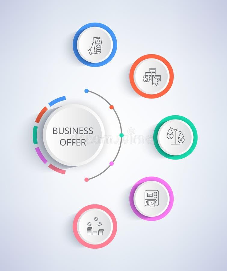 Sistema de la oferta del negocio de iconos que crecen la renta, crédito ilustración del vector