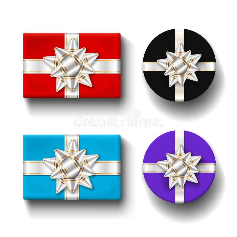 Sistema de la opinión superior de las cajas de regalo 3d, fondo blanco aislado Arco de plata de las cintas en giftbox del color A stock de ilustración