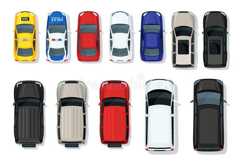 Sistema de la opinión superior de los coches Transporte plano de la ciudad del estilo Iconos del vehículo aislados libre illustration