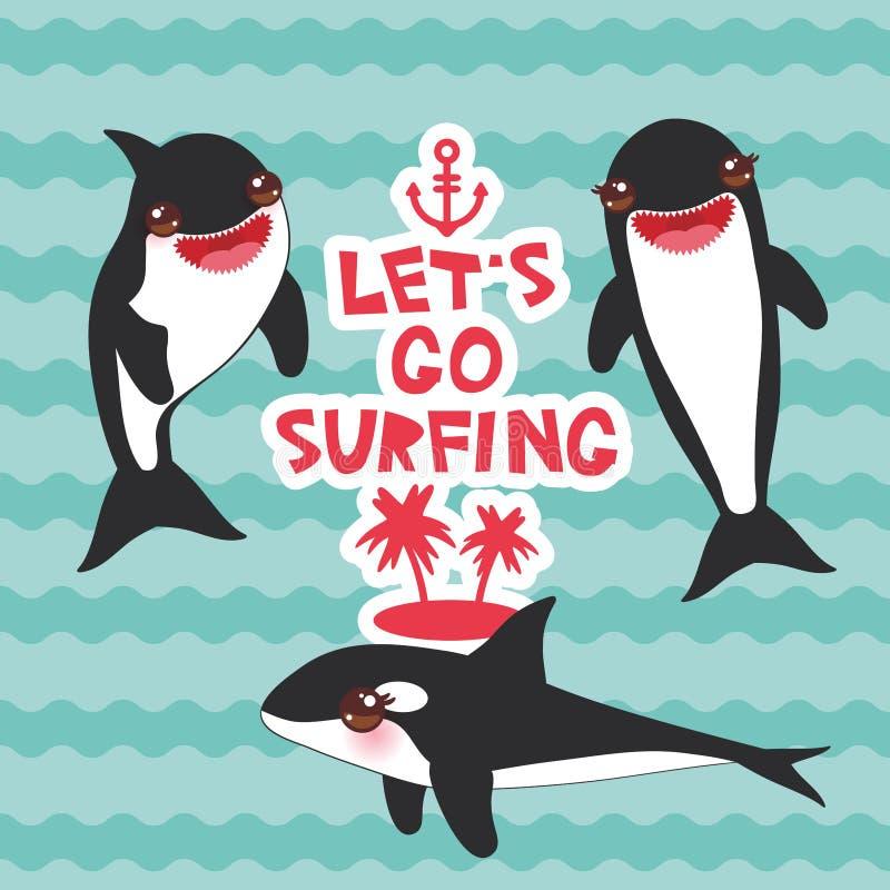 Sistema de la orca de la historieta Lets va a practicar surf, orca, orca, lobo de mar Kawaii con las mejillas rosadas y sonrisa p stock de ilustración