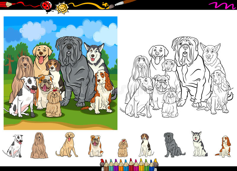 Sistema de la página del colorante de la historieta de las razas del perro ilustración del vector