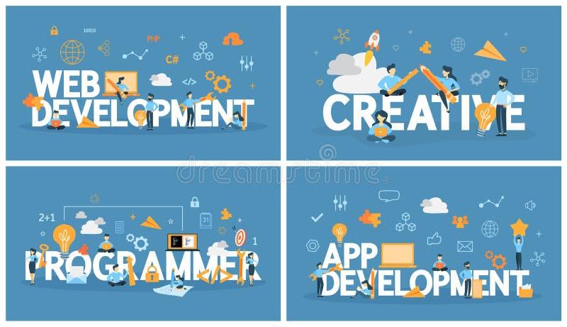 Sistema de la palabra del desarrollo web con la gente alrededor libre illustration