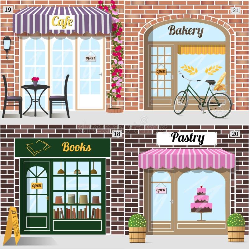 Sistema de la panadería del diseño detallado del vector, del café, de la librería y de la tienda de pasteles stock de ilustración