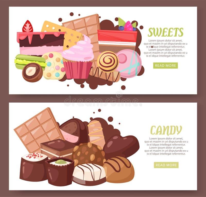 Sistema de la panader?a y de los dulces del ejemplo del vector del dise?o web de las banderas Tienda del caramelo con los pedazos stock de ilustración