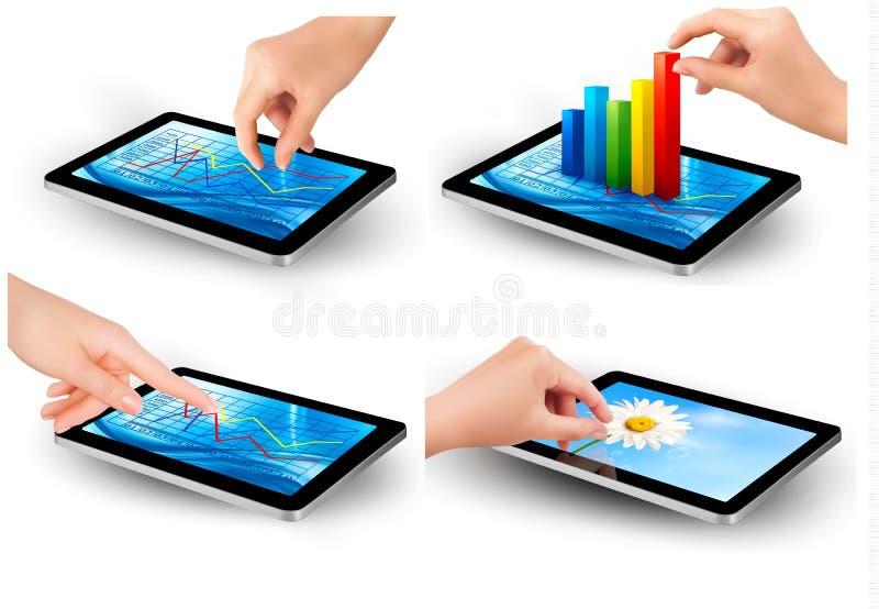 Sistema de la pantalla de la tableta con el gráfico y una mano libre illustration