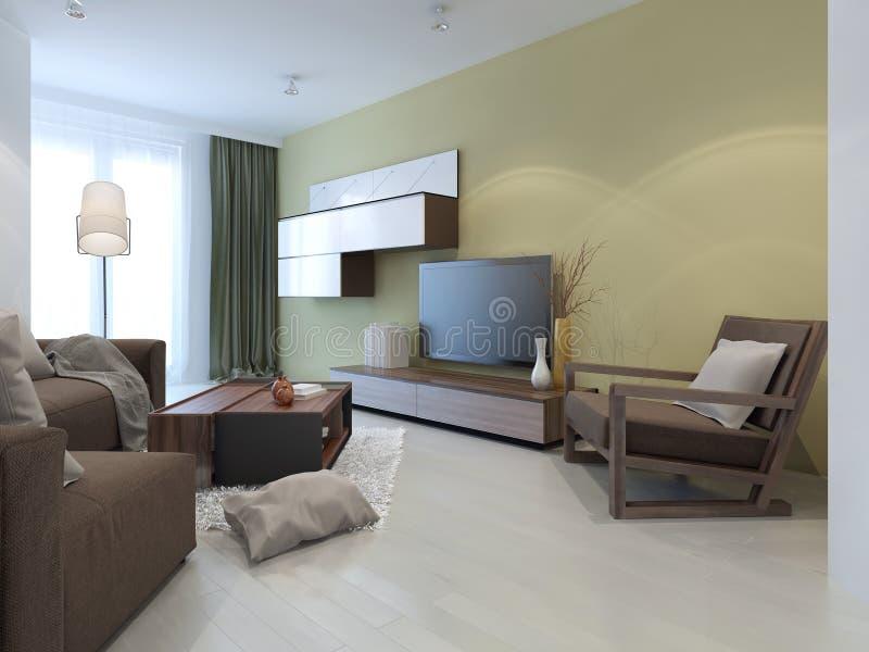 Sistema de la pared en sala de estar moderna stock de ilustración