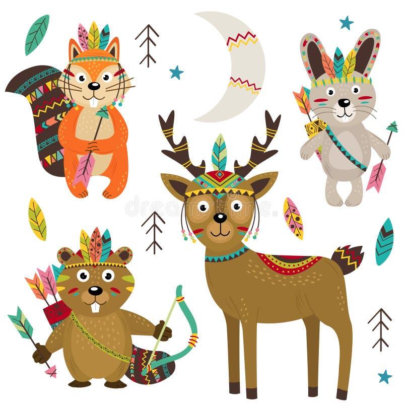Sistema de la parte tribal aislada 2 de los animales stock de ilustración