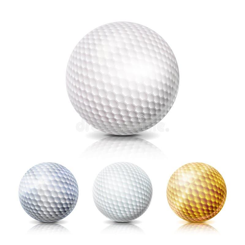 Sistema de la pelota de golf ejemplo realista del vector 3D Blanco, oro, gris Aislado en el fondo blanco stock de ilustración