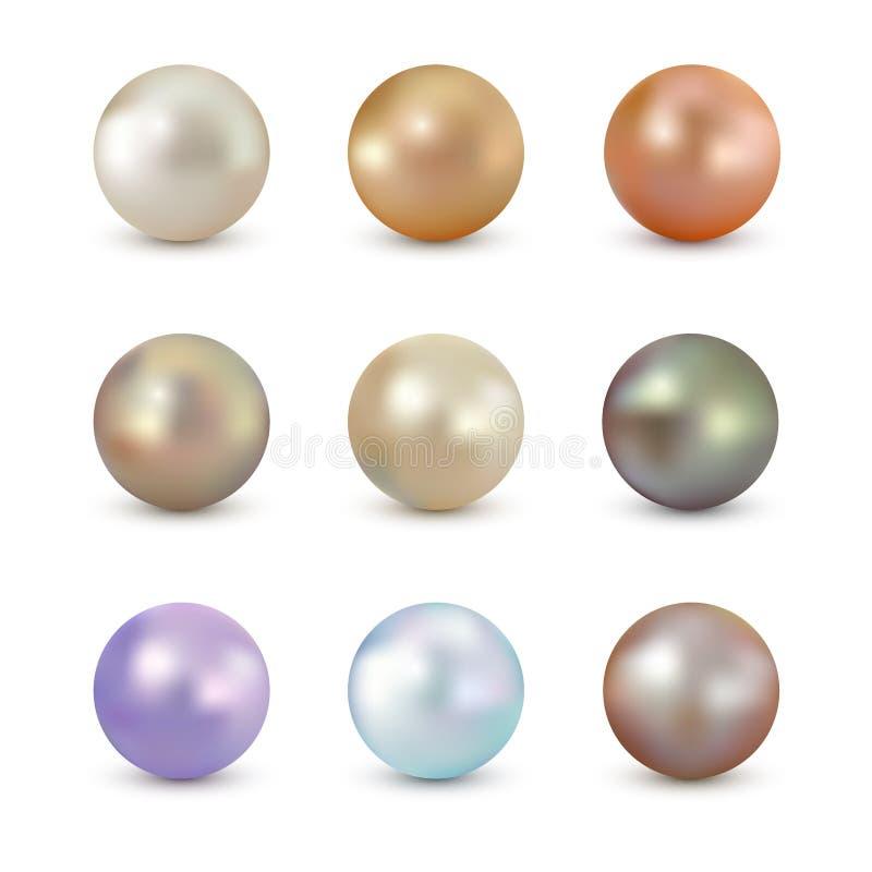 Sistema de la perla brillante del color realista del vector aislada en el fondo blanco ilustración del vector