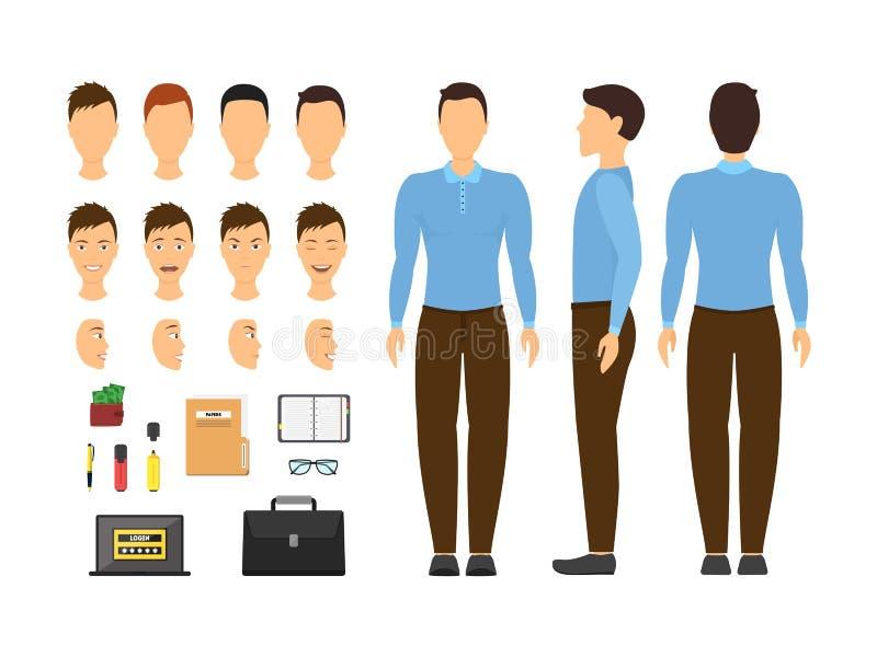 Sistema de la pieza del elemento del hombre y del constructor de negocios de la historieta Vector stock de ilustración